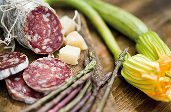 A selection of typically Italian specialities from Rovagnati's charcuterie.